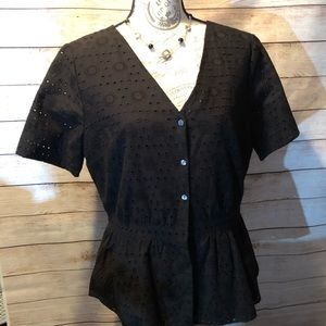 Ann Taylor Black top with cotton lace cutouts